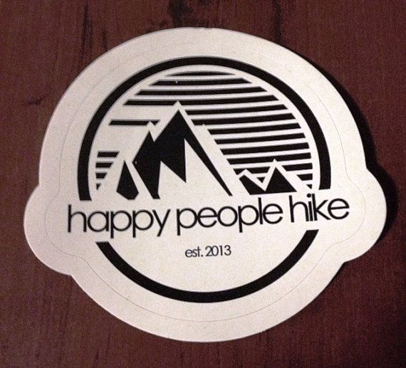 4 inch diameter round bumper sticker from happy people hike