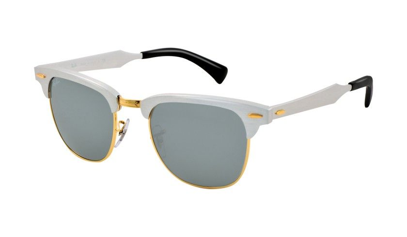 ray ban gold clubmaster  Ray Ban Aluminum Clubmaster Sunglasses, Silver Frame with Crystal ...