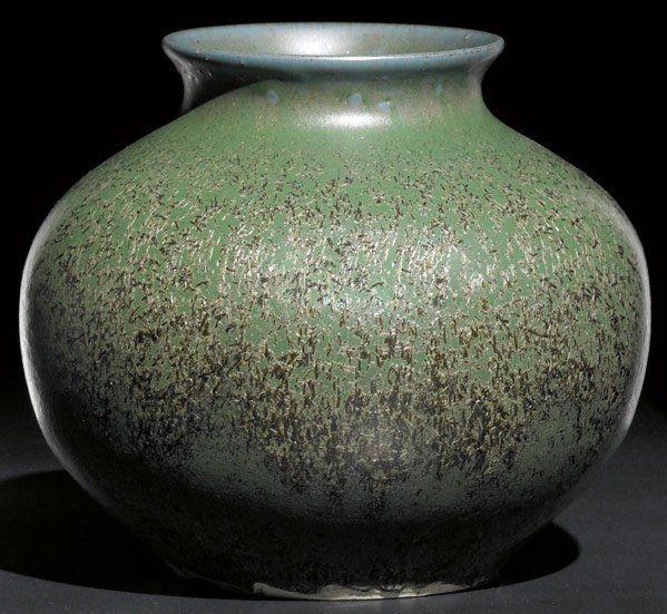 206 Rare And Large Grand Feu Pottery Vase Round Shape On