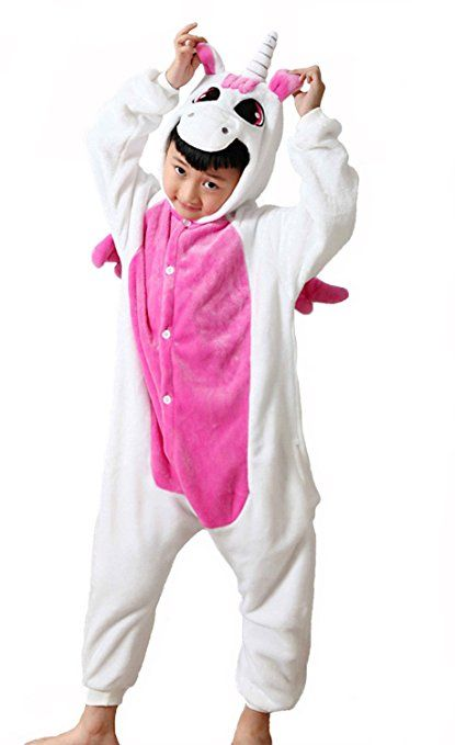 kinder einhorn kost me flanell jumpsuit jungen m dchen tieranz ge pyjama overall onesie. Black Bedroom Furniture Sets. Home Design Ideas