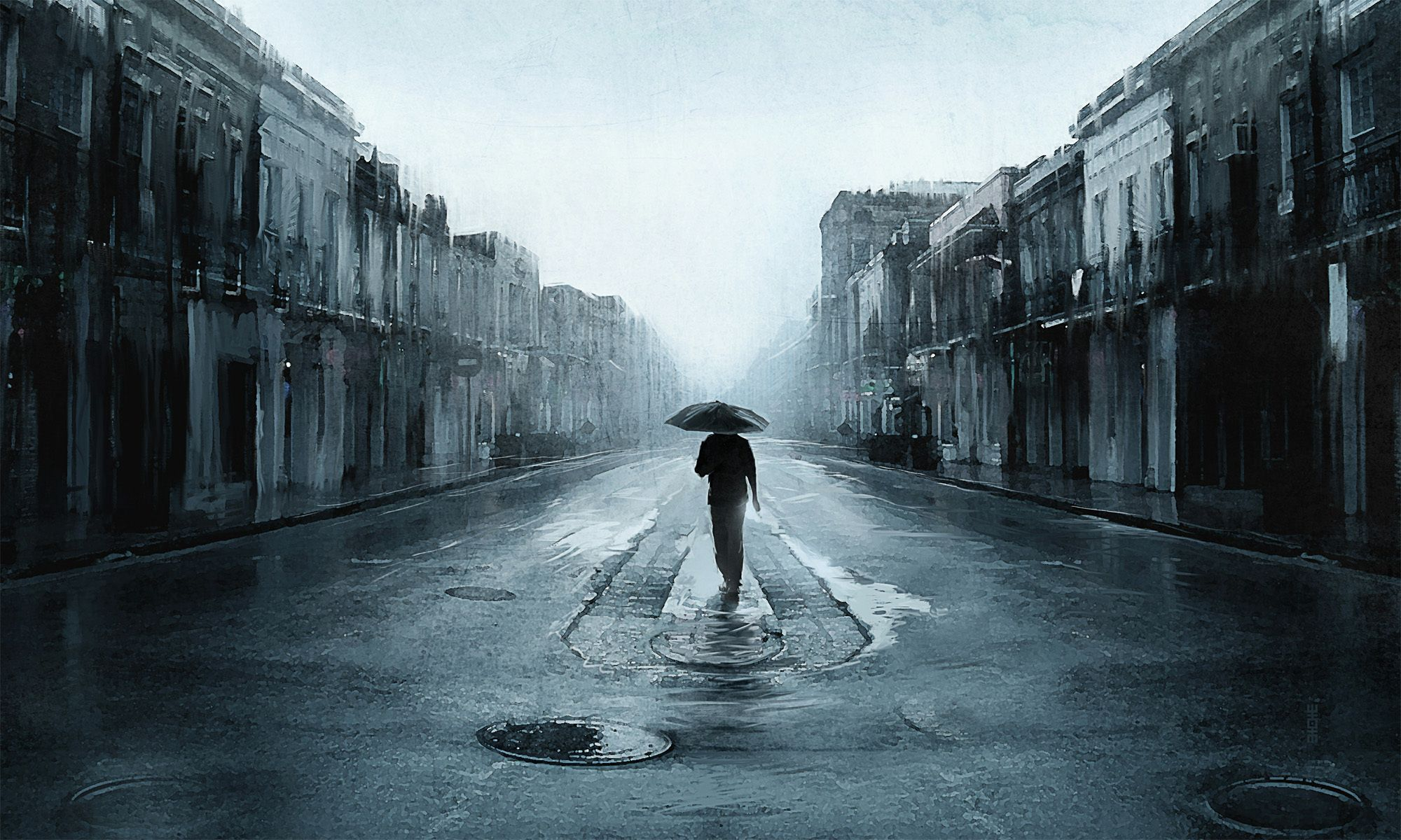 Alone Hd Wallpapers Hd Wallpapers Inn Rainy Street Rain Wallpapers Rain Painting