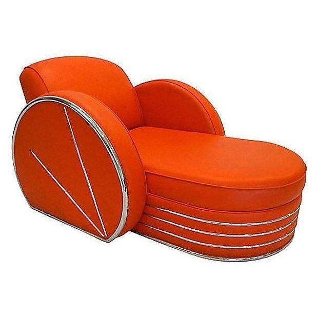Image of Vintage Art Deco Red u0026 Chrome Chaise Lounge Chair  sc 1 st  Pinterest : art deco chaise lounge - Sectionals, Sofas & Couches