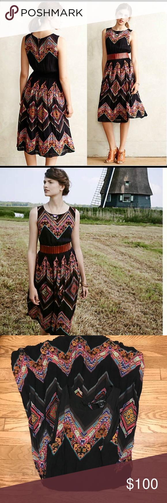 "c85854d5f3d3 Anthropologie Patchwork Chevron Midi Dress, sz 10 By Tanvi Kedia. In VGUC  Approximate: Bust—19"" Waist—12-21"" (elastic) Length—42"" Anthropologie  Dresses"