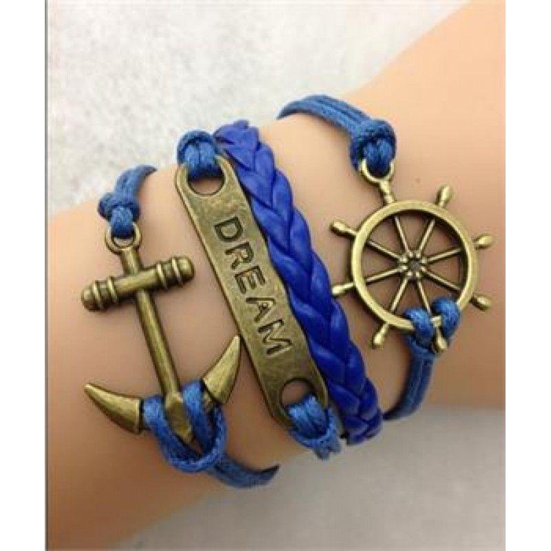 caa5b06c5811 Pulsera con Timón y Ancla. Multidijes en azul. | Diy | Pulseras ...