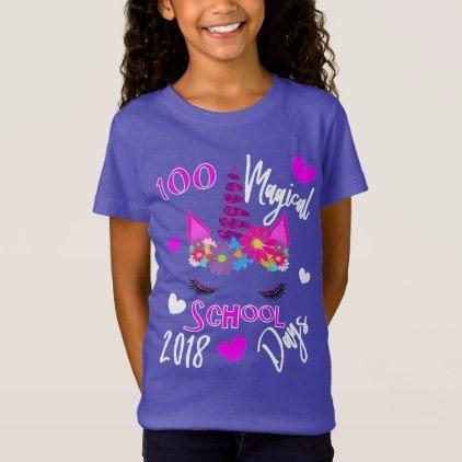 100 Days Of School 2018 Magical Unicorn Girly T-Shirt | Zazzle.com