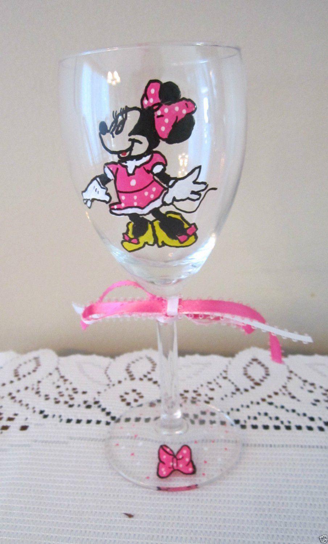 Hand Painted Wine Glass MINNIE MOUSE PINK DRESS Stemware, 8 oz Wine Glass