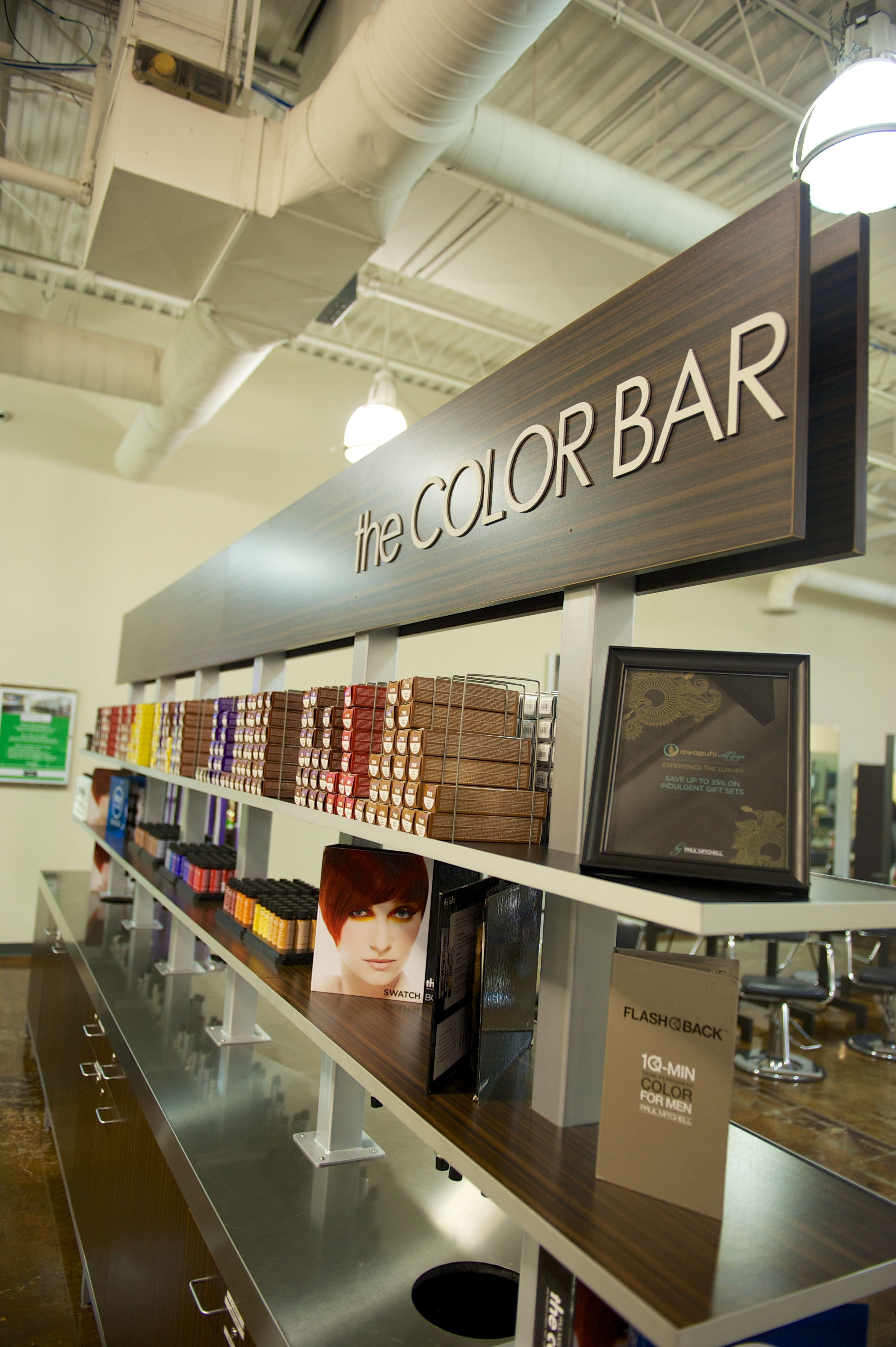 The fabulous color bar where all of our Paul Mitchell