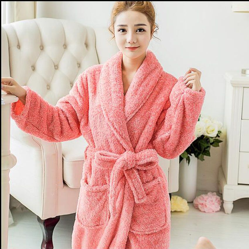 Coral fleece couples bathrobes thickening flannel bath robe women coral fleece couples bathrobes thickening flannel bath robe women men warm bathrobe kimono dressing gown bridesmaid sciox Image collections