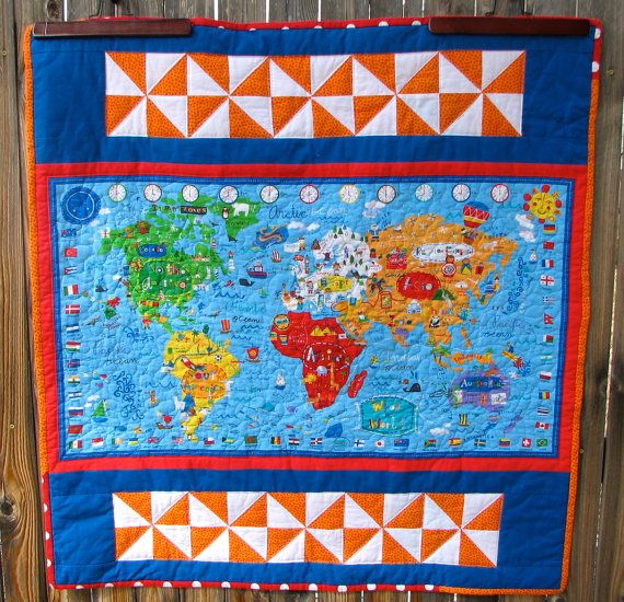 World map quilt wall hanging wall art by heritageandheart world map quilt wall hanging wall art by heritageandheart 9000 gumiabroncs Gallery