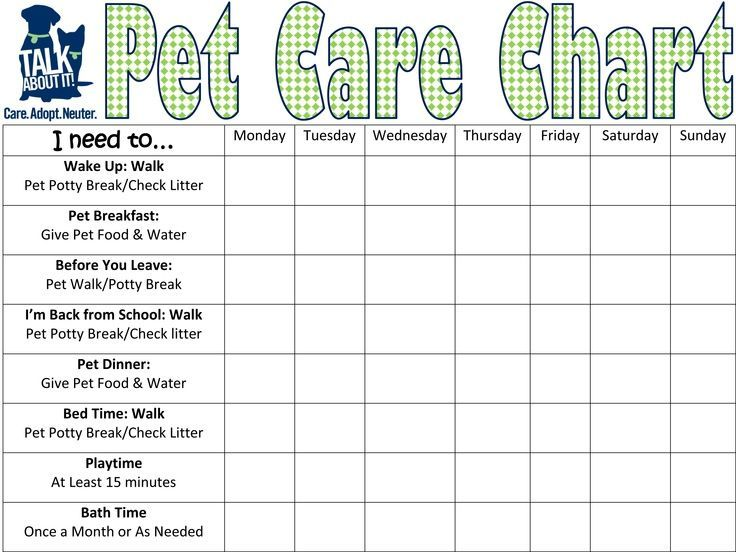 Pet Care Requirement #5 Keep a Chart for two Weeks listing all - free printable t chart