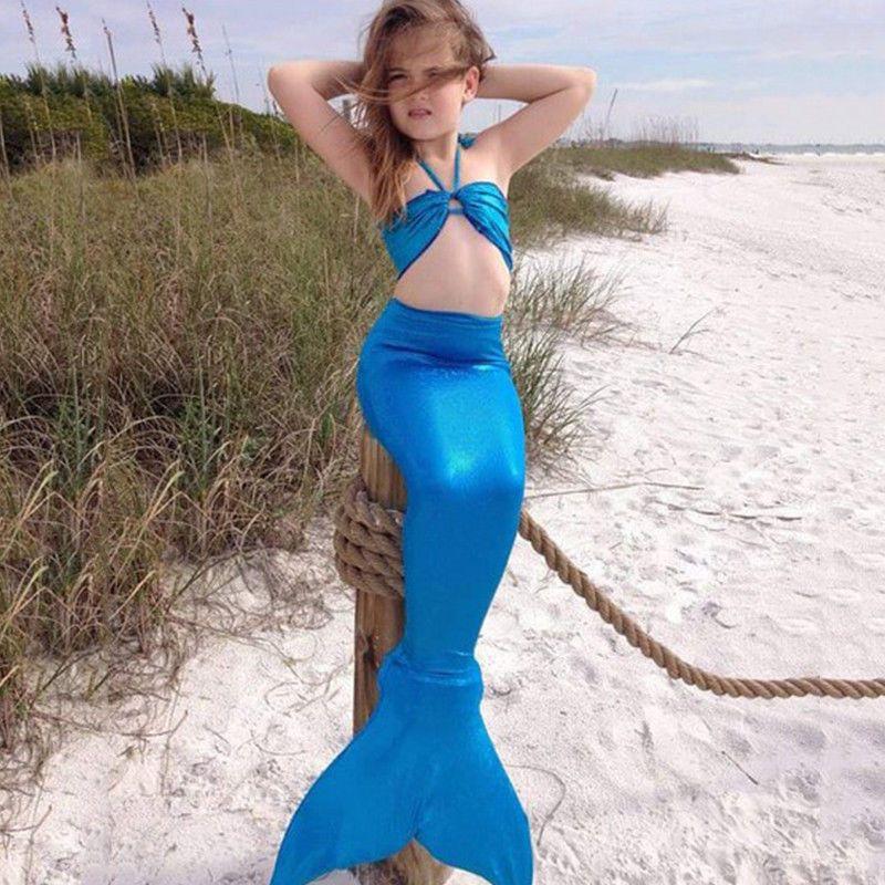 Fancy Kids Girls Mermaid Tail Tops Swimsuits Swimwear Bikini Set 3PCS Beachwear