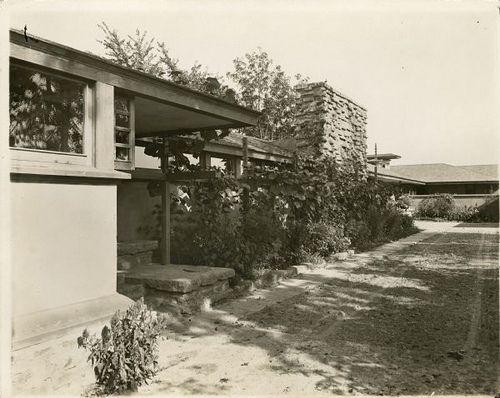 Taliesin I Trellis and Plants in Courtyard