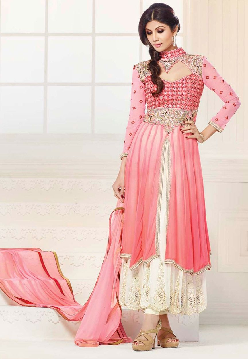 Pink Faux Georgette and Net Double Layered Anarkali Churidar Kameez  KAH586 b329bb8b0