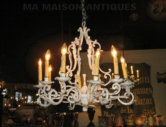 Painted 12 Light Wrought Iron Chandelier Iron Chandeliers