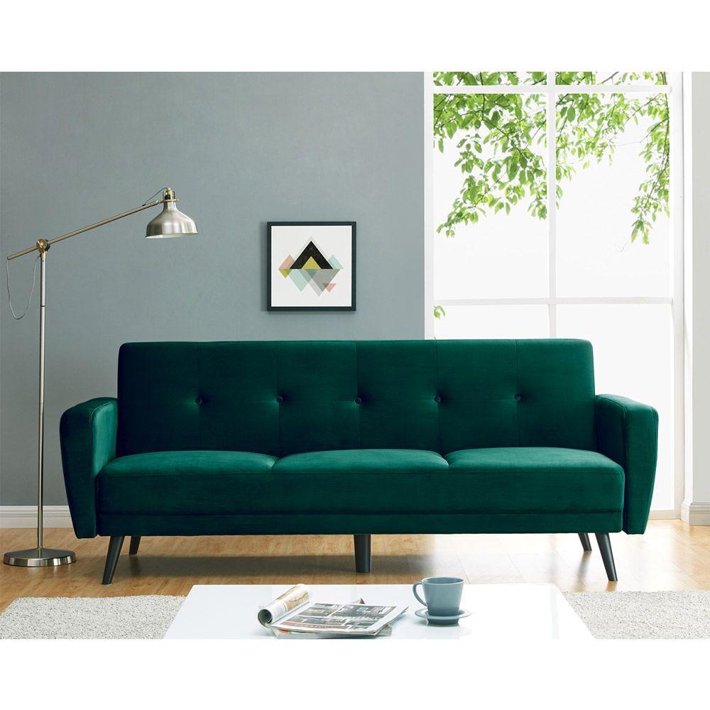 Esben 3 Seater Velvet Sofa Bed Dark
