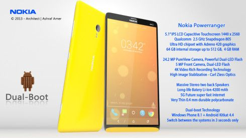Nokia Power Ranger Is A Dual Boot Smartphone With Android 4 4 Kitkat And Windows Phone 8 1 Phone Nokia Power Rangers