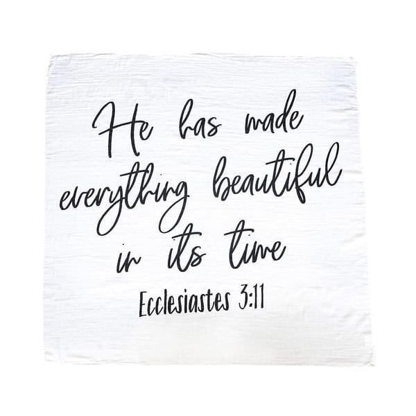 Bible Verse Swaddle Blanket Ecclesiastes 3:11 (Black)