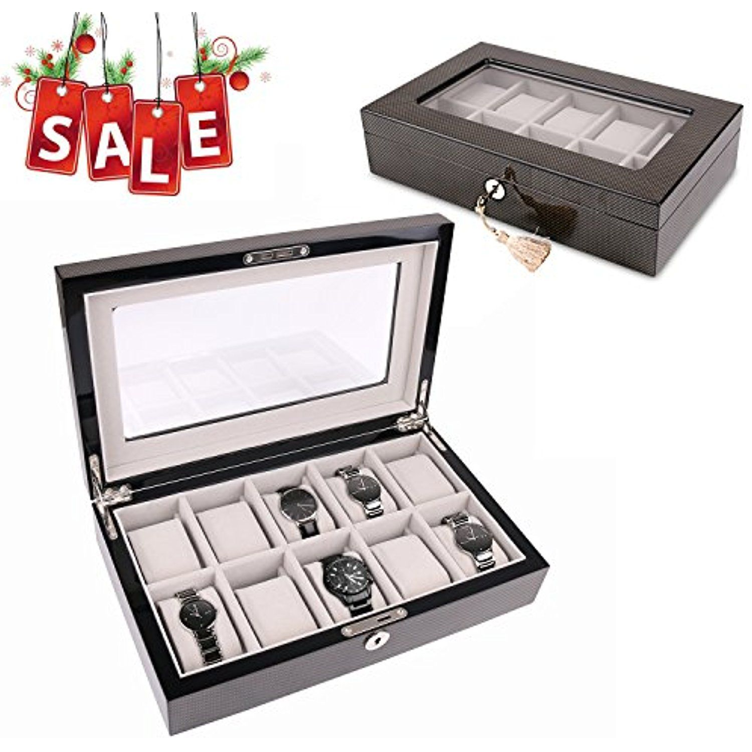 A Comely Lacquer Watch Box 10 Slot Luxury Watch Organizer Display Case For Storage And Collection Glass To Watch Organizer Display Case Decorative Accessories