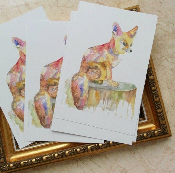 Fox,postcard, Watercolor illustration art Artist: Maryna Kovalchuk  instagram.com/dyvokolir