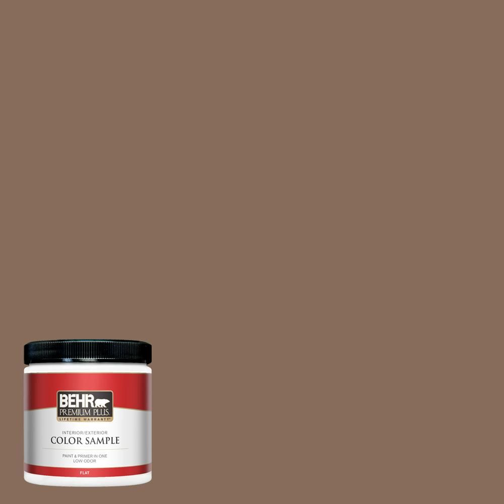 Behr Premium Plus 8 Oz N190 6 Nut Brown Flat Interior Exterior Paint And Primer In One Sample In 2020 Exterior Paint Flat Interior Behr