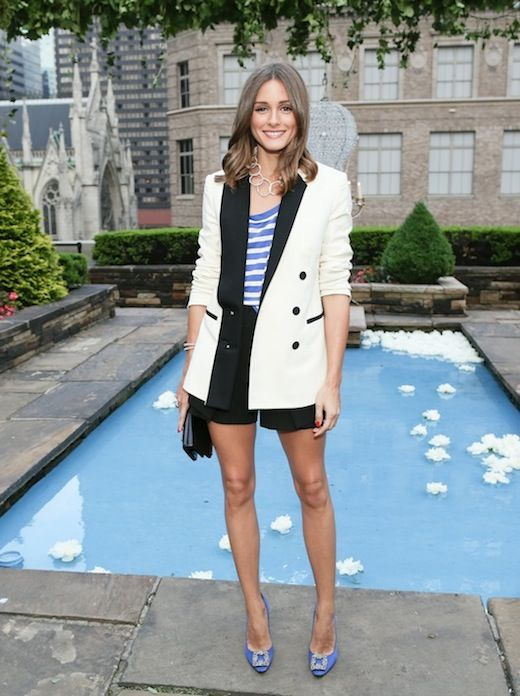 c66060897b2897 Olivia Palermo wears a white tuxedo jacket and the Manolo Blahnik Hangisi  pumps  CocosTeaParty