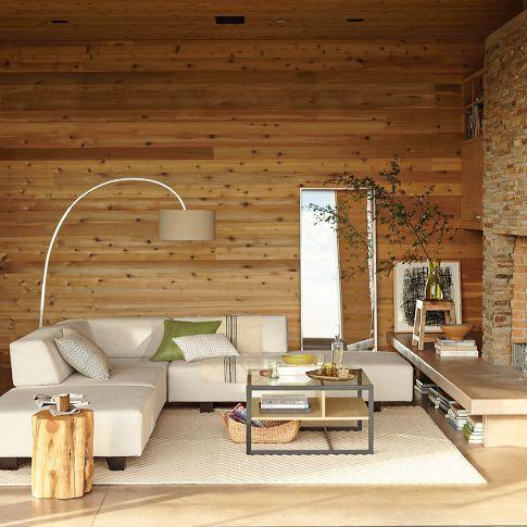 Paredes forradas de madera natural Piso y paredes forradas de