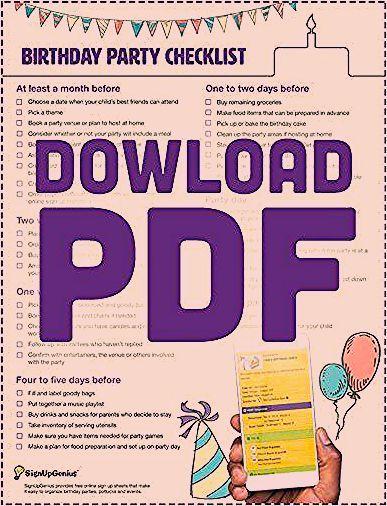 Birthday Party Planning Checklist