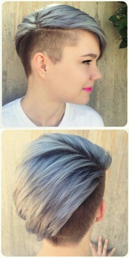Pastel dyed shaved sided hair | Short Hair | Pinterest