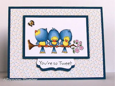 "Whipper Snapper Designs ""Bird Buddies"". SU Whisper White & Not Quite Navy card stock. DSP (?). Copics: Birds: B91, B93, B95, B97, YR04, YR07, YR09, Y02, Y04, Y18 Branch / Flowers: E43, E44, E47, RV02, RV04, RV06, YG61, YG63, YG67 Butterfly: Y04, Y18, W5, W7"
