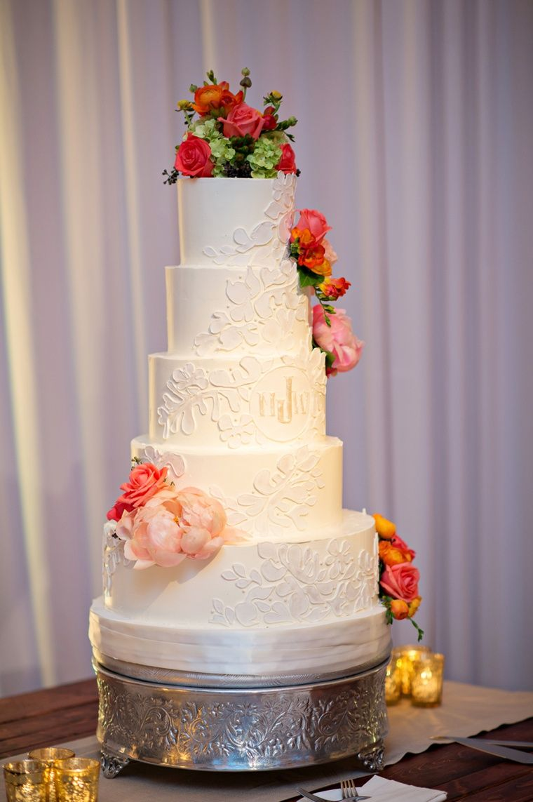 A rustic coral and gold florida wedding wedding cake gold and cake