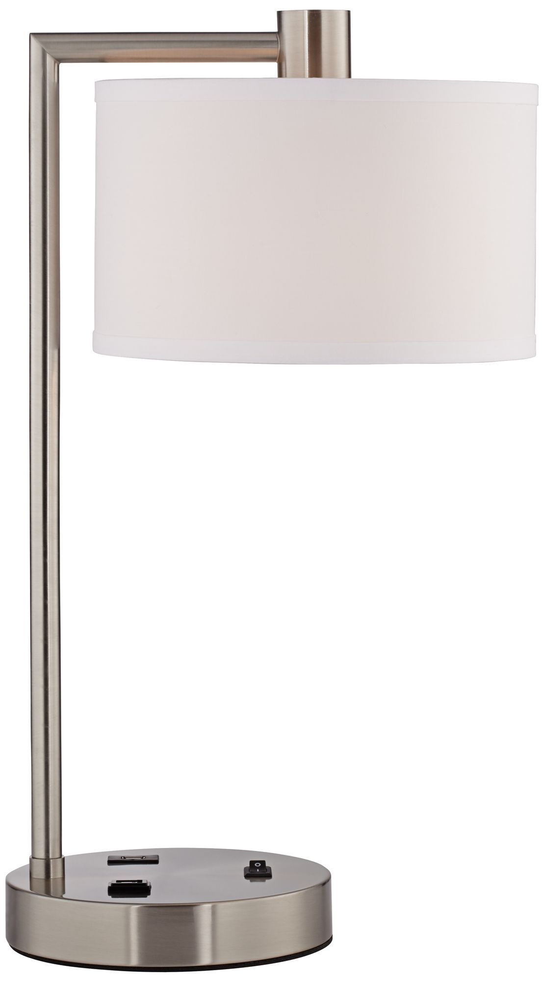Colby Nickel 23-Inch-H Desk Lamp with Outlet and USB Port - #EU8N535 - Euro Style Lighting
