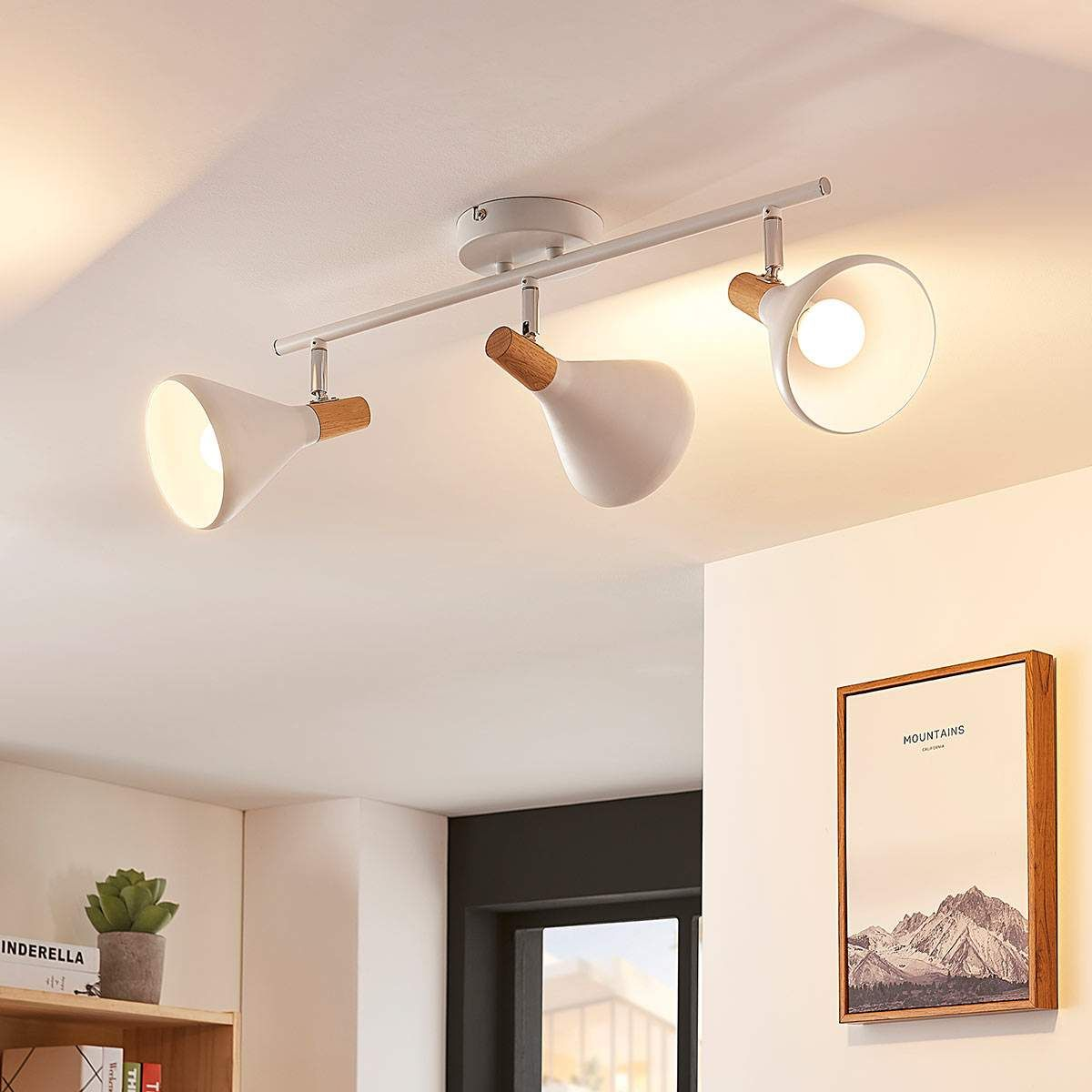 LED Wandleuchte Arina Strahler Spot Lampenwelt Metall Weiß Holz Deckenleuchte