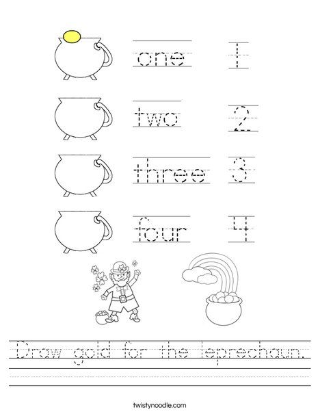 Draw gold for the leprechaun Worksheet - Twisty Noodle | St ...