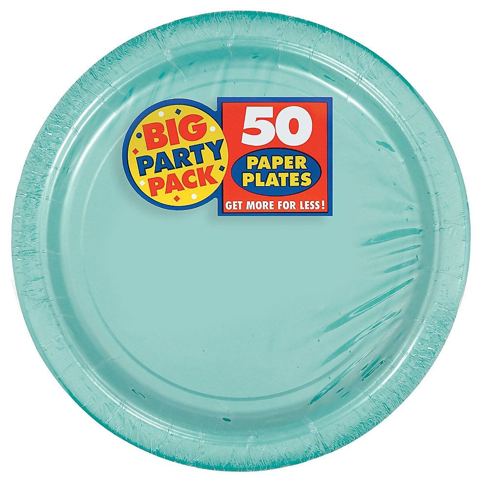Amscan Big Party Pack 9 Round Paper Plates Robin S Egg Blue 50