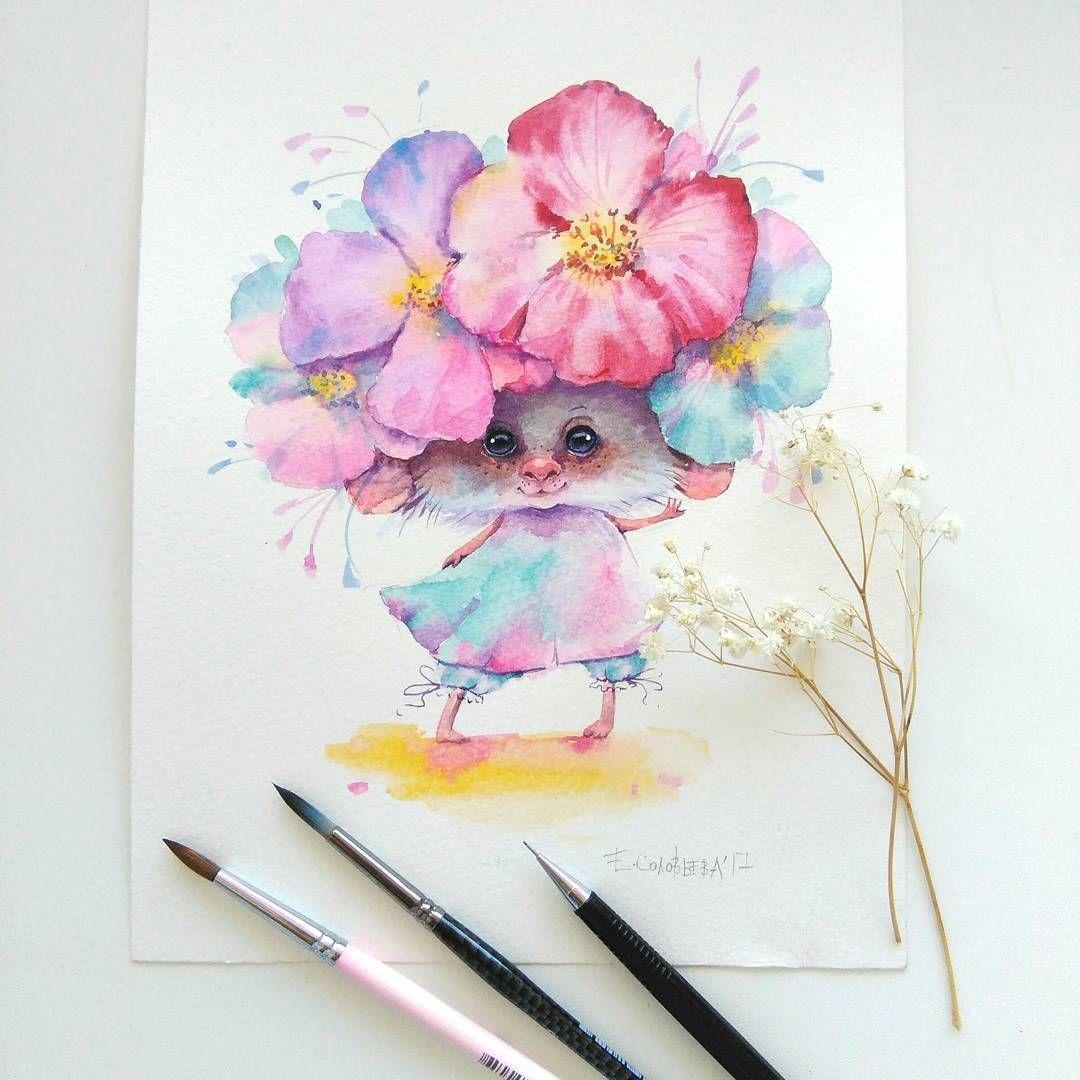 Милые открытки акварельными карандашами