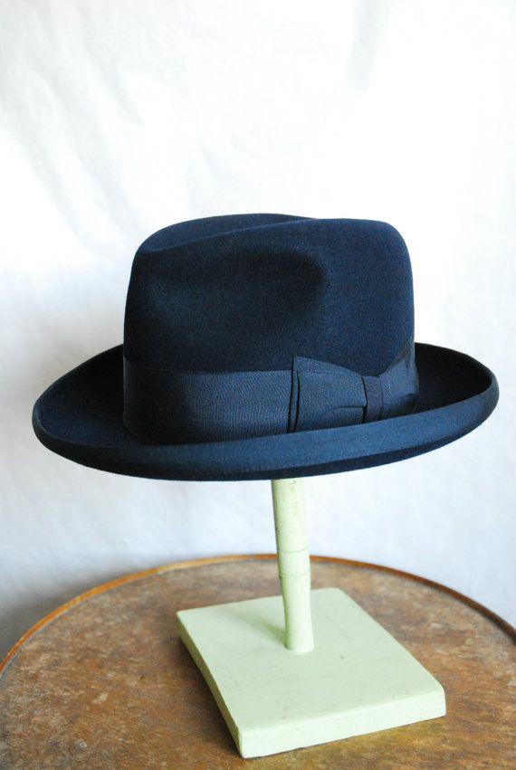 Vintage 50 S Mayser German Blue Felt Homburg Fedora Etsy Mens Hats Fashion Hats For Men Fedora Hat Men