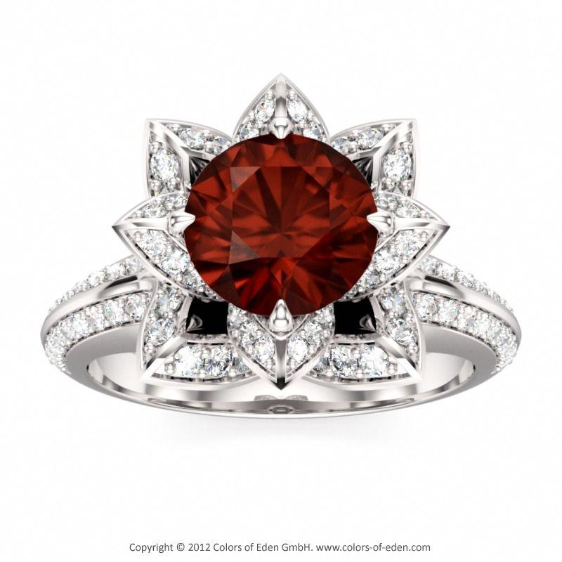 Mozambique Garnet Lotus Ring