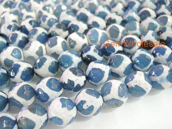 14 5 10mm 12mm Blue Color Bulk Tibetan Dzi Beads Round Beads Blue Dzi Agate With White Stripe Semi Precious Stone Beads Blue Color Round Beads