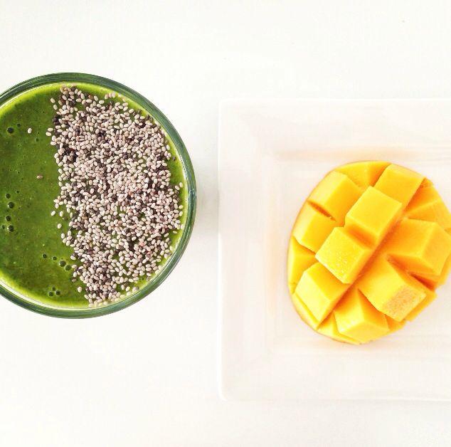 first green smoothie of 2014 ☀️ kale, coconut water, mango, orange, lime, avocado, parsley, turmeric, cinnamon, ginger, LSC, maca, sprinkled with chia  @Lorna Jane