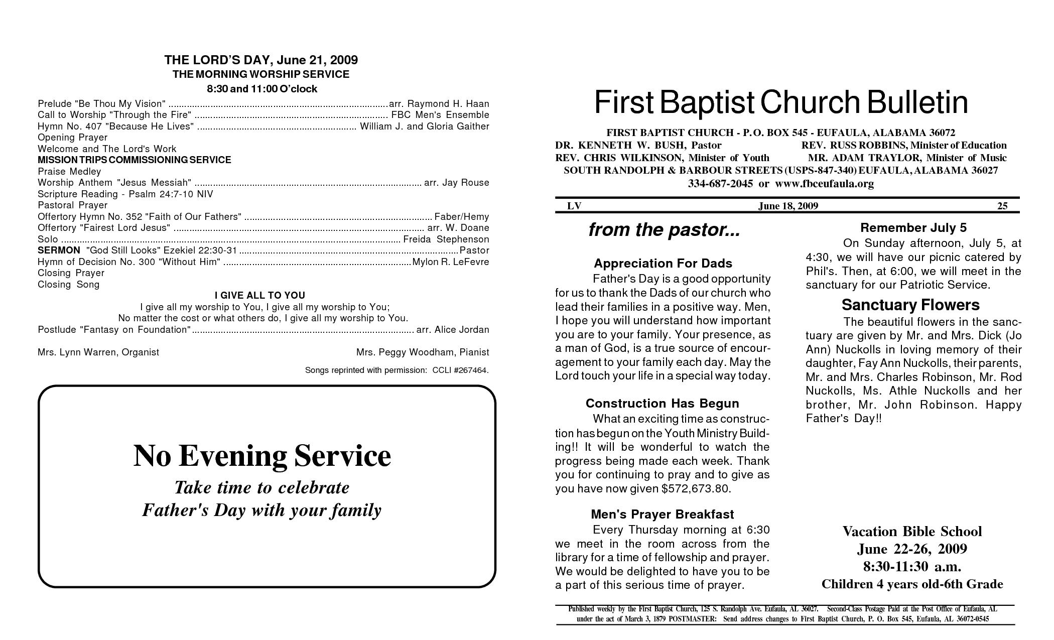Memorial Service Programs Sample | First Baptist Church Bulletin No Evening  Service