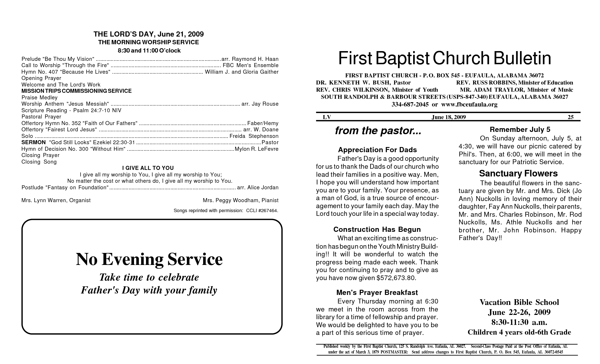 memorial service programs sample first baptist church bulletin no evening service