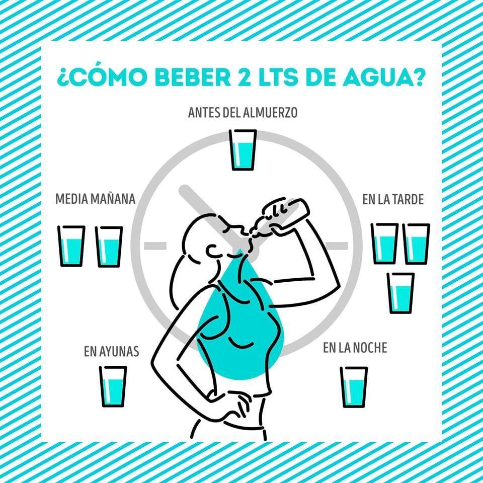 Cómo distribuir los 2 litros de agua al día y tomarlos fácil