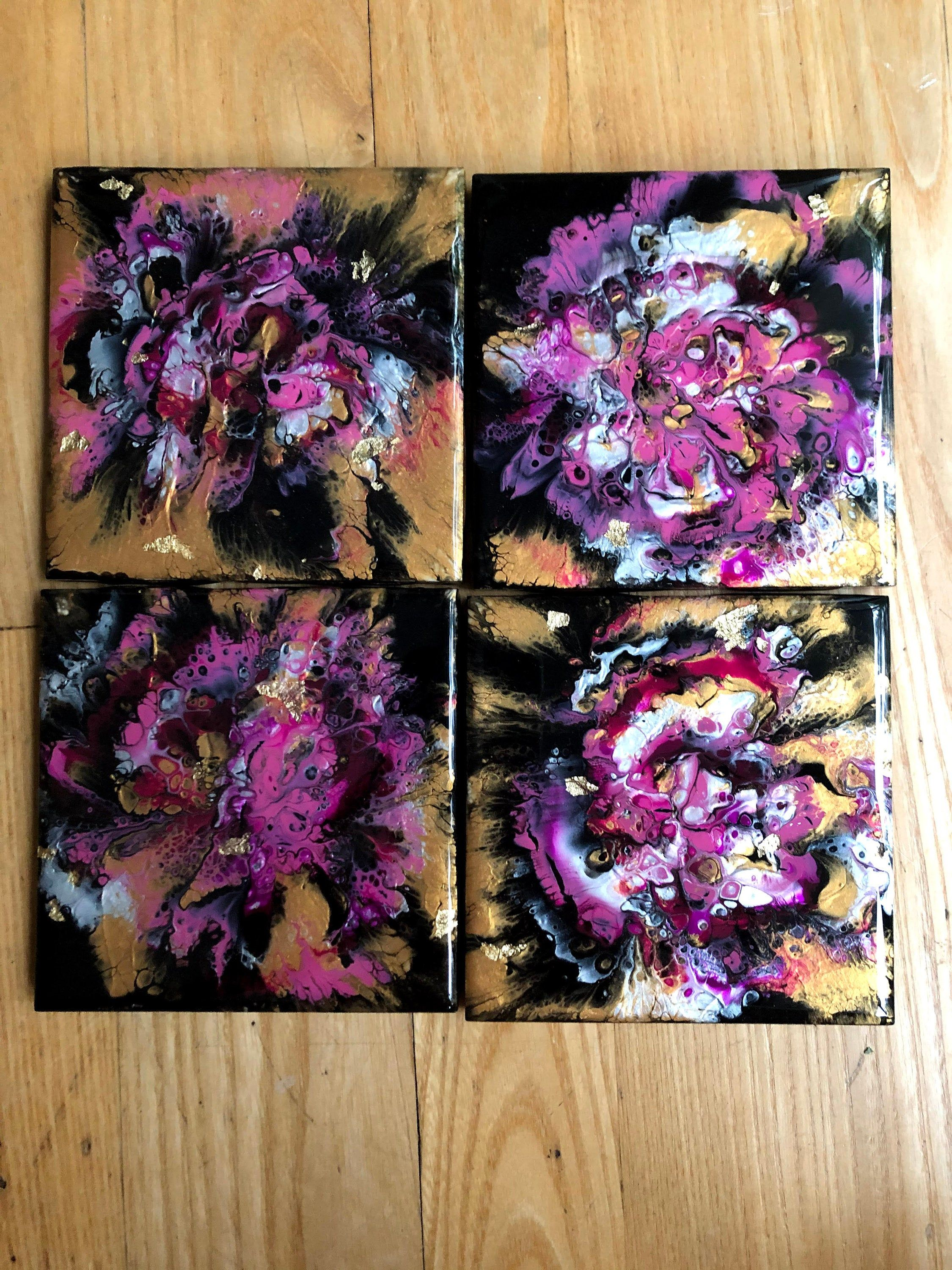Pink and Black Acrylic Flow Tile Drink Coasters