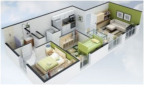 3D Small House Plans With 2 Bedroom