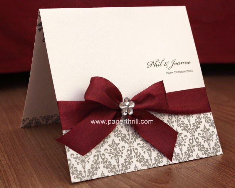 Black White Red Damask Wedding Invitation Card