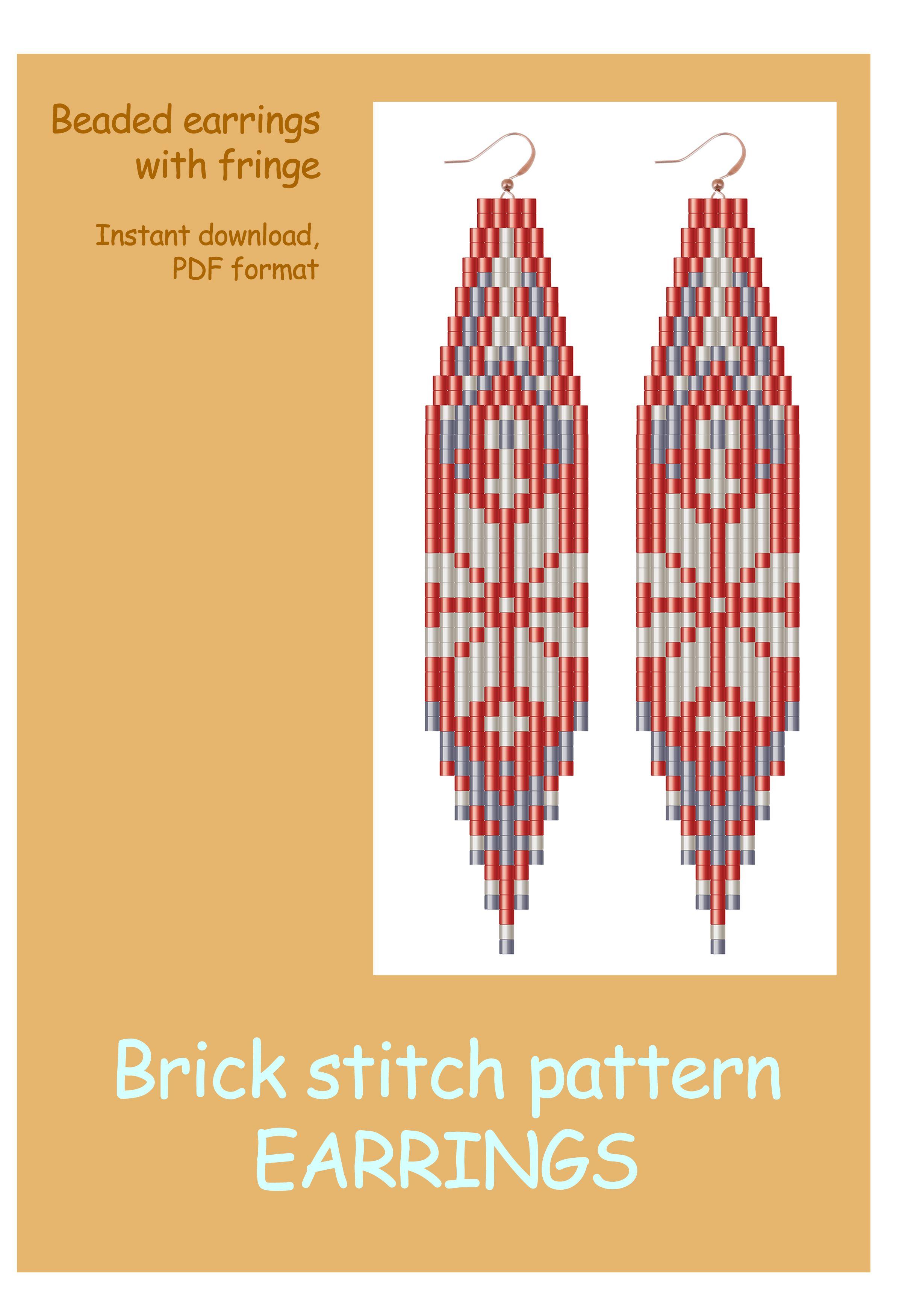 Brick Stitch Pattern Beaded Earrings With Fringe Snowflakes Print Earrings Diy Seed Bead Pattern Christmas Pattern Brick Stitch Pattern Brick Stitch Pattern Earring Earring Patterns