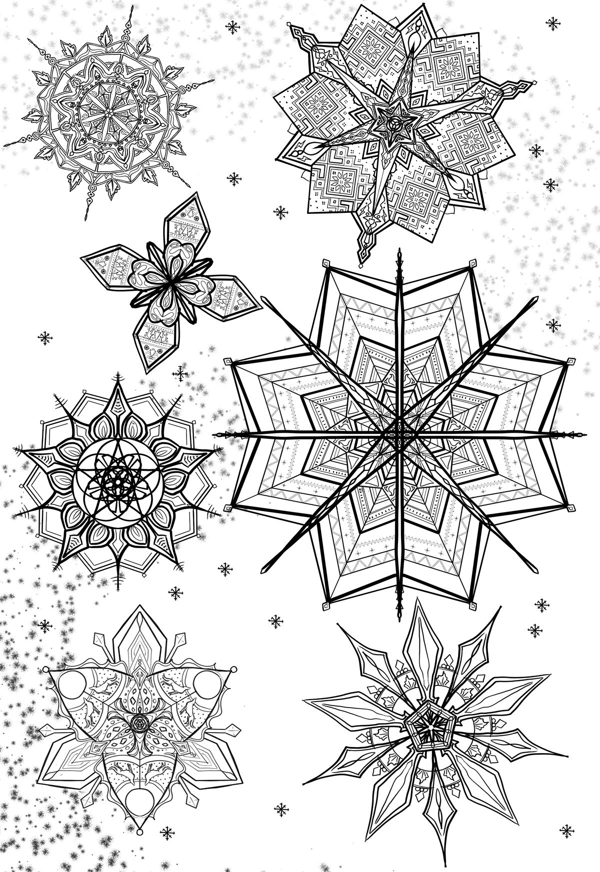 Snowflake colouring page on behance coloring pages pinterest