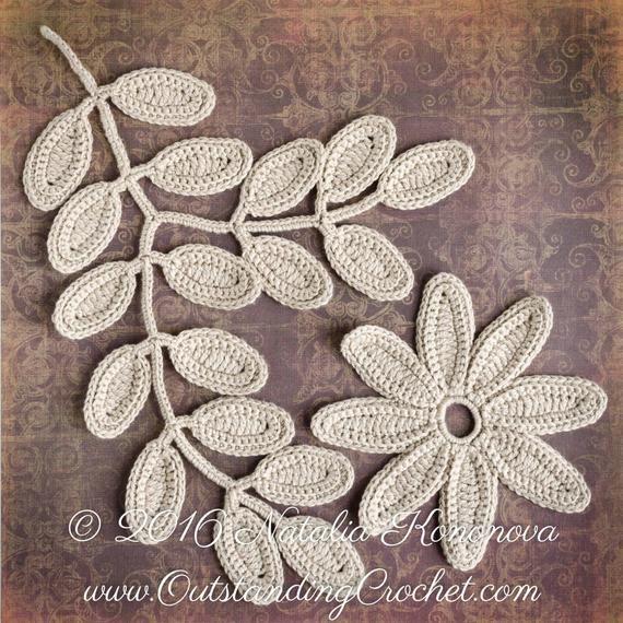Irish Crochet Applique PATTERN - Fantasy Flower Leaf - Lace Motifs, Embellishment, Home Wall Decor - PDF