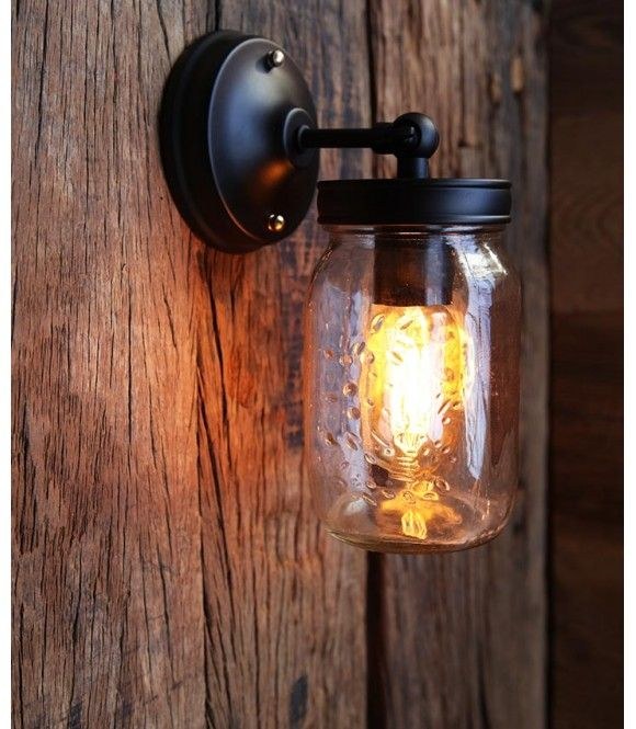 applique murale vintage industriel mason jar ampoule filament bocal luminaires applique. Black Bedroom Furniture Sets. Home Design Ideas