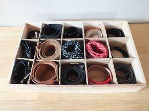 diy rangement faire soi m me une bo te compartiment e pour les ceintures ceinture boite. Black Bedroom Furniture Sets. Home Design Ideas